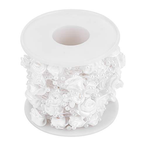 Hilitand 10m / Rolle 3mm Rose Künstliche Perle Draht Perlen Garland String DIY Hochzeit Dekoration, Faux Kristall Perlen(weiß)