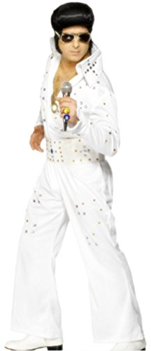 Kostüm Presley Jumpsuit Elvis - Zauberclown Herren Kostüm Elvis Presley mit Jumpsuit und Gürtel, L, Weiß