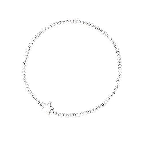 MetJakt Sleek 2,5 mm Elastische Perlen 18K Gold Plated Sterling Silber Classic Stretch Armband Verschiedene Anhänger (Sternverbindung, Sterling Silber)