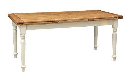Tavolo allungabile in legno massello di tiglio - Stile Country - Struttura bianca anticata piano finitura naturale 180x90x80 cm