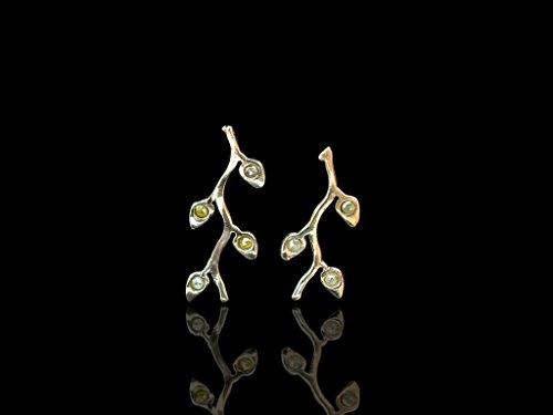 GOLDENE OLIVENBLÄTTER | Ohrringe in Gold mit gelben & grauen Diamanten (Olive Goldenen Zweig)