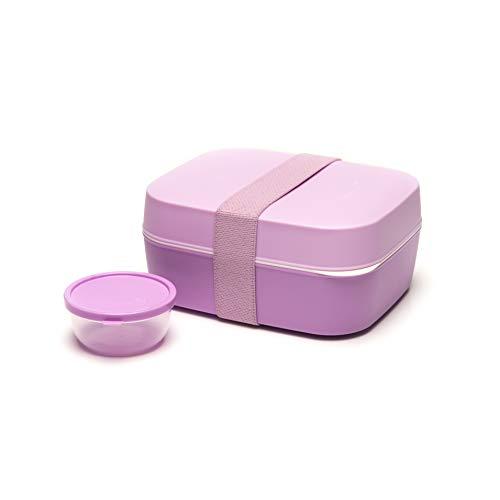 Amuse Unterteilte Bento Box 3 in 1, pink / lila, für Kinder und Erwachsene, Brotdose und Salatbox mit zwei Etagen und Extra-Behälter für Dressing, Früchte oder Joghurt -