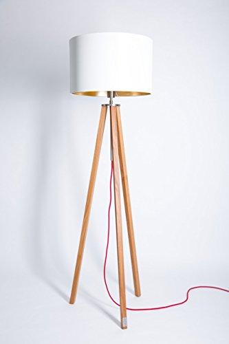 WDM Eiche Stehlampe,Tripod,Wohnzimmer,Lampe,Stehleuchte,Leuchte,Wohnzimmer,Innenbeleuchtung, Schlafzimmer,Lampenschirm,Handgefertigte Leuchte,Holz Gestell,Dreibein Lampe Tripod Schirm Weiß/Gold