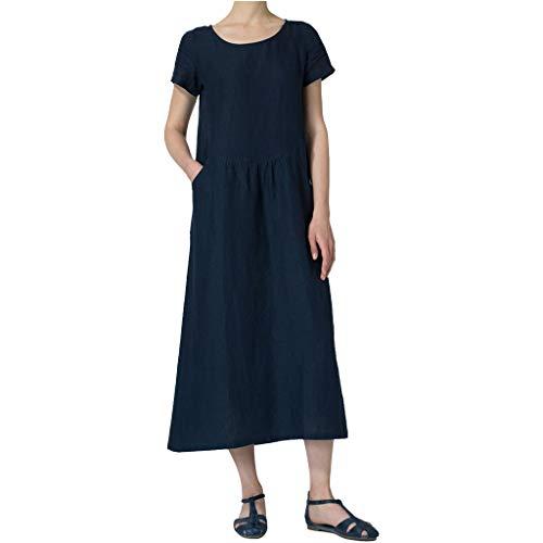 iYmitz O-Neck Kleider Damen Freizeit Strandkleider Lose Sommerkleider Einfarbig Tunika Leinen Shirtkleid Midikleider(Marine,EU-42/CN-2XL) -