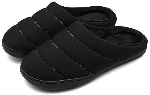 DAFENP Uomo Donna Pantofole Invernali Caldo Morbido Peluche Scarpe Casa Interno All'aperto XZ333A-Black-EU45/46