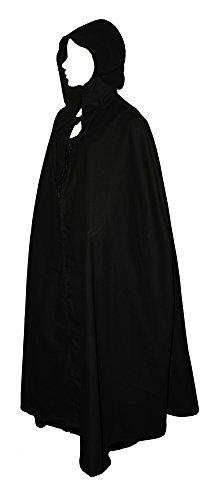kreativwunderwelt Umhang aus schwerer Baumwolle - 160cm - schwarz - runde Kapuze