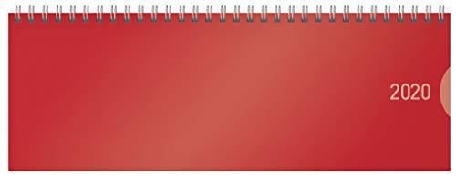 Tischquerkalender Classic Colourlux rot 2020: 1 Woche 1 Seite; Bürokalender mit nützlichen Zusatzinformationen; Format: 29,8 x 10,5 cm
