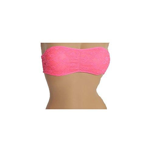 Midi Shopping - Lot 2 Brassieres Femme Bandeau en Dentelle Avec Bretelles Transparents 9563 Rose