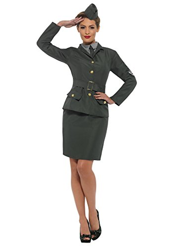 SMIFFY 'S 47383s 2. Weltkrieg Army Girl Kostüm, Damen, Grün, s-uk Größe 08–10