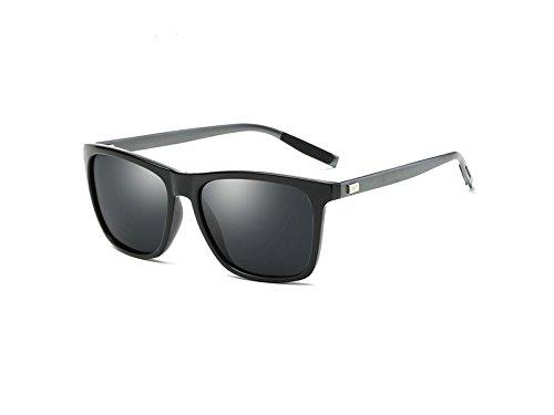 FERFERFERWON Fahrrad Sonnenbrillen PanpA Männer Frauen Retro Aluminium Magnesium Rahmen Brille polarisierte Sport Sonnenbrille (schwarz) Augenschutzbrille