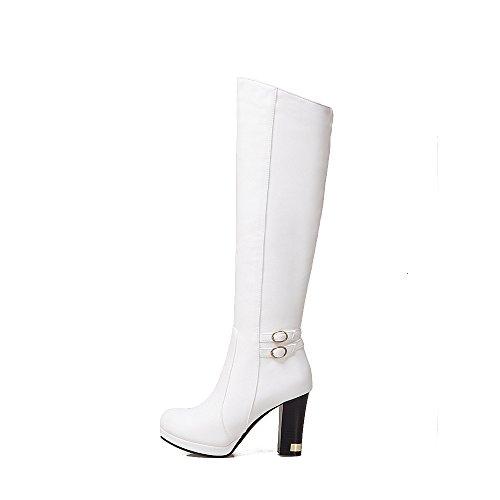 Alto 38 Tabla blanca De Zipper Áspero Cinturón Zapatos Botas Sólido Tacón Dyf QChdtrs