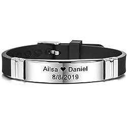 MeMeDIY 13mm Large Identification De Nom De Sport Réglable en Silicone Bracelet Personnalisé pour Homme Femme Enfant Caoutchouc en Acier Inoxydable - Gravure Personnalisée (Noir Couleur)