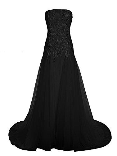 Find Dress Bustier Robe sans Manches Soirée Grande Taille pour Cérémonie Femme Mariage avec Broderie Floral Robe de Bal Longue Princesse Fête Noel Wedding Dress Multicouche Tulle Noir