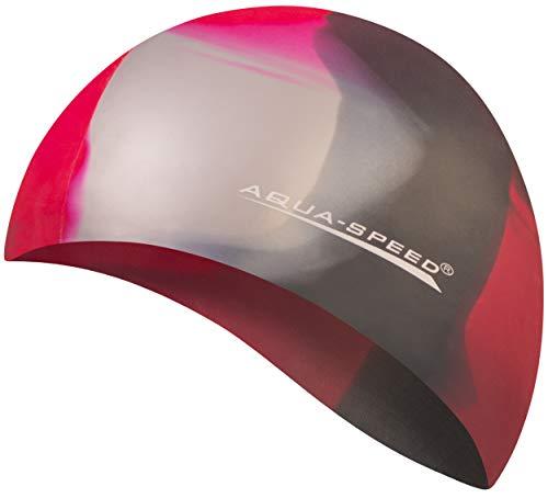 Aqua Speed® Set - BUNT Badekappe + Kleines Mikrofaser Handtuch | Silikon | Bademütze | Badehaube | Schwimmhaube | Erwachsene | Damen | Herren | Kinder, Kappen Designs:40. Bunt / 98