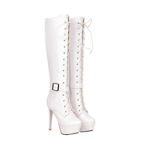 Xianshu Damen Plattform Reißverschlussper Schnalle Stiefel Langschaft Schuhen Mit Hohen Absätzen (Weiß-38 EU) (Weiß-plattform-stiefel)