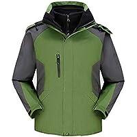 KIKIYA Impermeable De Los Hombres Softshell Chaqueta Forro Polar Camuflaje Capa Exterior,Green,M