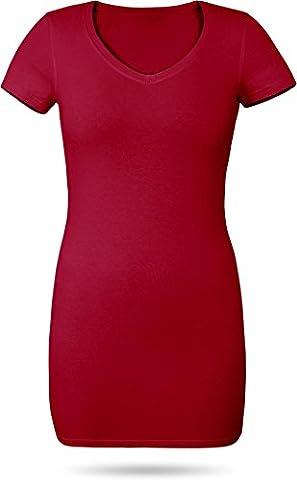 Figurbetontes Longshirt mit V-Ausschnitt - von XS bis 3XL Farbe Kirsche Größe XXL