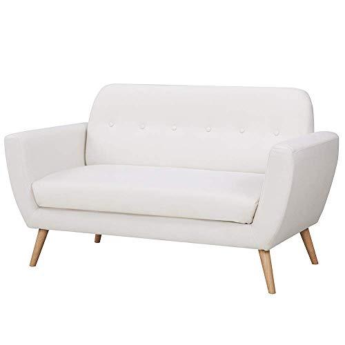 Bakaji divano conchiglia in tessuto di lino trapuntato, imbottito con schiuma ad alta densità, 2 posti, beige, 150 x 80 x 86 cm, unica