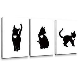 SUMGAR - Lienzo Decorativo para Pared, diseño de Gato y Gato, Color Blanco y Negro, 30 x 40 cm, 3 Unidades