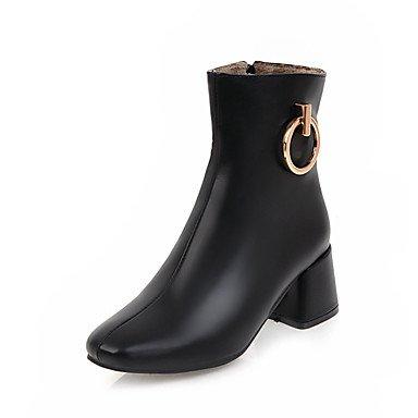 RTRY Chaussures pour femmes Bottes Mode Hiver Automne similicuir Talon Bottes bottines bout carré / Boots Zipper pour Office &AMP; nous noir robe Carrière6.5-7 / EU37 / UK4 5-5 / CN37