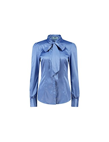 - Knopf-manschette Bluse Aus Seide (Hawes & Curtis Damen Schluppenbluse Slim Fit Satin Taubenblau, Stiefmütterchen Blau, 44 (UK 18))