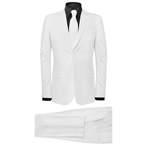 vidaXL 2tlg. Herrenanzug Business Anzug Hochzeit Jackett Krawatte Slim-Fit Gr.52