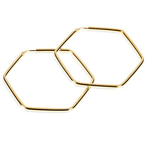 modabilé Damen Creolen Eckig aus 925 Sterling Silber (50mm) HEXAGON Ohrringe Vergoldet: Sechseck Ohrhänger + Geschenk-Etui I Made in Italy - Gold-ohrring-stopper