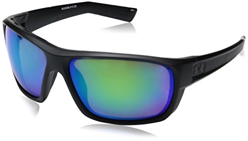 Under Armour Men's Ua Launch Polarized Round Sunglasses, (Ansi) Satin Black Frame / Copper Polarized Lens / Green Multiflection W/ UA Storm, 64 mm