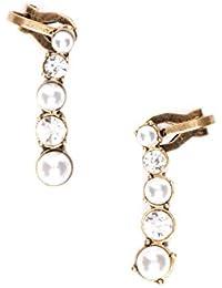 Happiness Boutique Damas Ear Cuffs Llamativos en Oro Vintage | Pendientes Ear Crawlers de Perlas Libres de Níquel