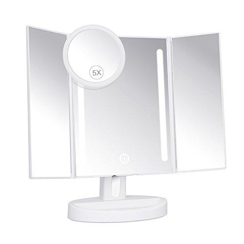 KEDSUM 3 Seiten Kosmetikspiegel mit Beleuchtung, Triptychon Make-up LED-Spiegel, mit 1 Kleinen Taschenspiegel 5-fache Vergrößerung Sucker, Dimmbare, Berühren, Angetrieben durch Batterien oder USB-Anschluss, 180 °-Drehung, LED weiches Licht, Beleuchteter Schminkspiegel
