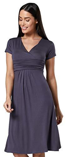 Zeta Ville - Damen - Umstandskleid - Kurzarm - Sommerkleid für Schwangere - 108c (Graphit, EU 40, L)