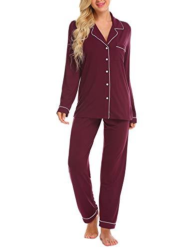 Damen Pyjama Lang mit Drawstring Zweiteiliger Schlafanzug für Damen mitKnopfleiste Langarm Soft Nachtwäsche Hausanzug Sleepwear fur Autumn/Winter, Rot -