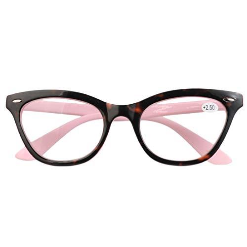 Fulision Vintage Clear Lens getönte Rahmenlinse Cat Eye-Lesebrille