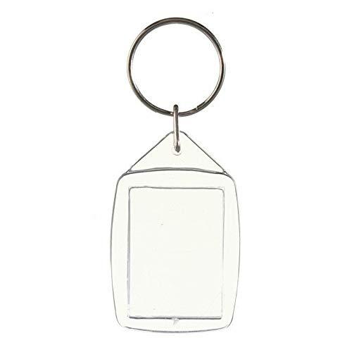 50 Stücke Durchsichtigen Acryl Kunststoff Leere Schlüsselanhänger Insert Passport Foto Keychain Keyfobs