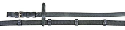 HKM Zügel mit Anti Rutsch Auflage & Stoppern, schwarz/Silber
