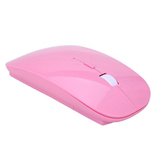 HDE Schlanke kabellose optische Maus mit DPI-Switch 2,4GHz, Pink Logitech Wifi-usb-empfänger