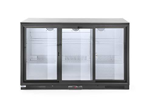HENDI Bar Kühlschrank - Schiebetüren, Mit LED-Innenbeleuchtung, Temperaturregelung, Kühlmittel: R600a, mit 6 verchromten Regalböden, 230V, 300W, 1335x500x(H)900mm, Verchromt, Aluminium