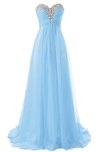 Abendkleider Ballkleider Lang Chiffon Brautjungfernkleid A Linie Damen Festkleid Himmelblau EUR46