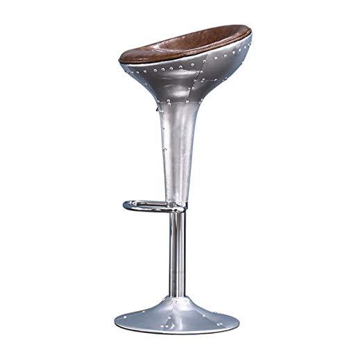 FISHD Vintage Barhocker aus Aluminium Rivet kreativer Hochhocker Ölwachs Hautmaterial Gebogenes Pedal Scheibentyp Stuhlfuß für Thekenküche,Humanisiertes Design