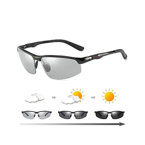 Sport-Sonnenbrillen, Vintage Sonnenbrillen, Photochromic Sunglasses Männer Polarized Glasses Male Change Color Sun Glasses HD Day Night Vision Driving Eyewear with original box C2 Black
