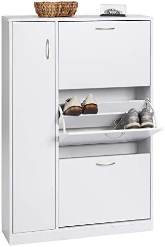 ts-ideen Schuhschrank Regal Schuhkipper Bad Flur Diele Standregal Holz Weiß 3 Schuhfächer + 1 Tür 120 x 80 cm