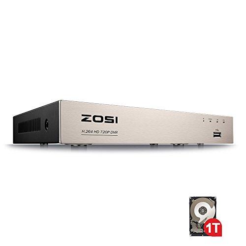 ZOSI CCTV 8CH 1080N 720P HD 4-in-1 TVI/AHD/CVI/Analog DVR Überwachungsrecorder Netzwerk Digital Video Recorder H.264 Aufzeichnungsgerät mit 1TB Festplatte, HDMI VGA Ausgan (Video Digital Recorder System)