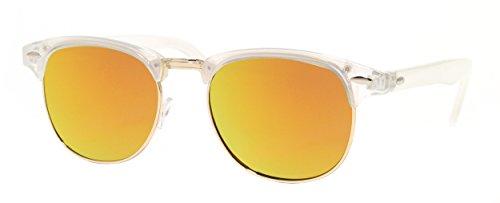 Cheapass Sonnenbrille Clubmaster Transparent Weiß Verspiegelt Modern Unisex