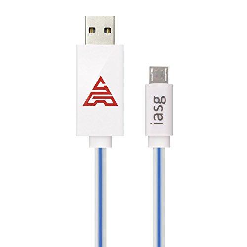 IASG Micro USB 2.0 A Stecker an Micro-B-Kabel - 3.3ft / 1M sichtbarem flüssigen LED-Licht Sync & Ladekabel für Samsung Galaxy / HTC / Sony / Tablet / und andere Adroid Geräte (blau)