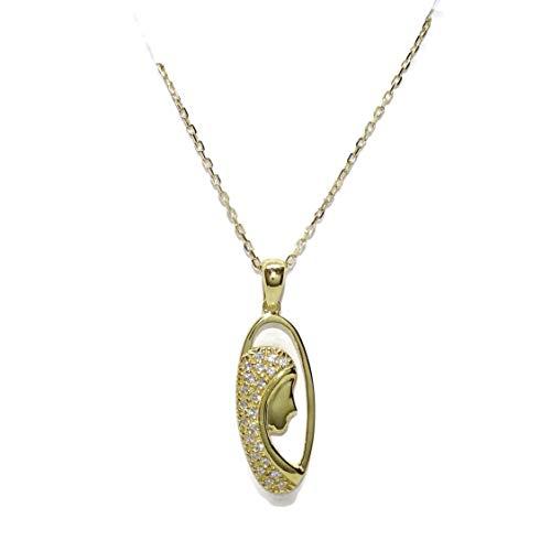 Never Say Never Medalla Silueta de la Virgen de Oro Amarillo, 2.10cm de Alto (sin el asa) con circonitas de la Mejor Calidad y Cadena Forzada de 40cm también de Oro Amarillo de 18k.