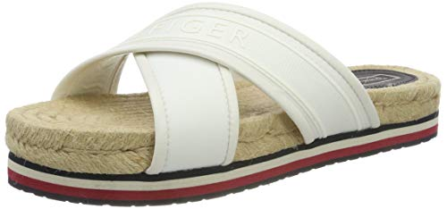 Tommy Hilfiger Colorful Tommy Flat Sandal, Sandalias con Punta Abierta para Mujer, Blanco Whisper White...