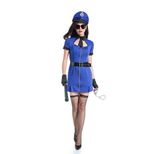 CYY Frauen-Polizei-Halloween-Wäsche-Abendkleid-Polizist-Uniform-Frauen-Kostüm-Ausstattungs-Blau, - Lustig Gesetzes Kostüm
