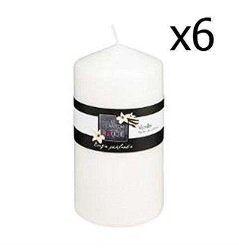 PEGANE Lot de 6 Bougies parfumées Rondes Plaisir vanillé Naturel 395g, H. 14 x D.7 cm