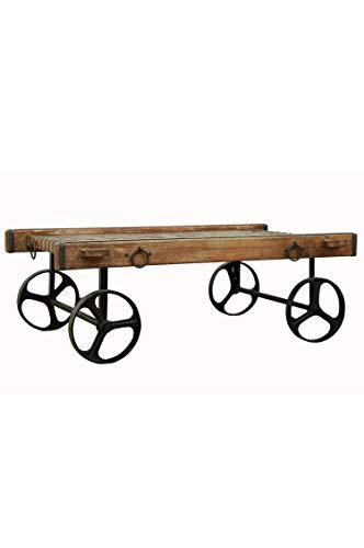 Industrial Design Wohnzimmertisch Couchtisch aus Holz massiv und Eisen Aroon 120cm | Vintage Tisch aus Massivholz antik für Ihre Wohnzimmer | Niedriger Moderner Sofatisch Massivholztisch modern -
