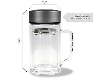 """Théière à piston Double paroi avec anse/300ml/100% étanche/de thé verre/Couvercle et Passoire à thé en inox/Gourde/Gobelet de voyage to Go/Mug isotherme/Thé Tasse/Mug """"de calutea"""